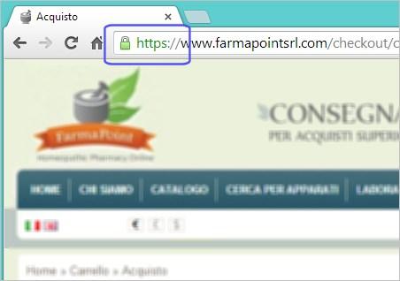 immagine tratta dalla pagina di acquisto del notro sito, che evidenzia l'utilizzo del protocollo SSL